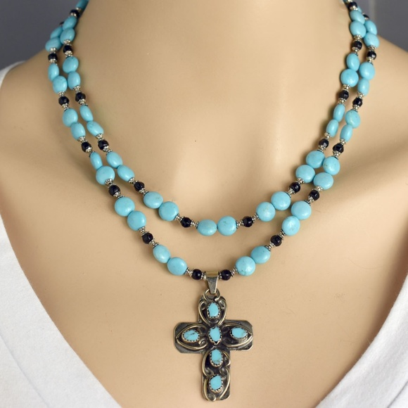 """Turquoise Silver cross necklace cross pendant silver chain 18-21/"""" long necklace"""